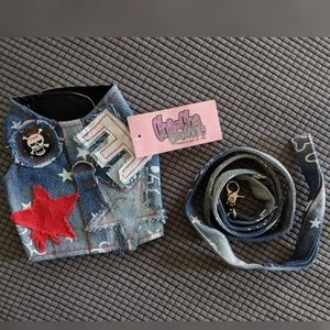 Denim Vest with Matching Leash for Small Dog
